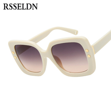 RSSELDN Fashion Square Sunglasses Women Brand Designer Style Rivet Sun Glasses For Women Pink black Big frame Retro Shades UV400(China)