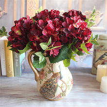 Wine Red Rose Floral 1 Bouquet Artificial Peony Flower Arrangement Room Hydrangea Wedding Home Decor Party  Fleur Artificielle