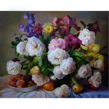 5D DIY Diamond Painting Flower Full Square 3D Diamond Embroidery Cross Stitch Peony Floral & Fruits Needlework Home Decorative