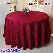 Burgandy colour jacquard table cloth damask pattern table cover for wedding hotel and round table linen decoration wholesale(China)