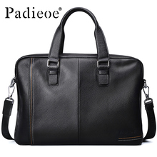 Padieoe Luxury Top-Handle Business Men's Briefcase Genuine Cow Leather Mens Handag Fashion Casual Laptop Tote Bag Briefcases