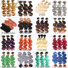 8A Ombre Mongolian Hair Bundles Mongolian Virgin Hair Body Wave Two Three Tone Green Red Orange Ombre Human Hair Weave Extension