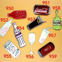 1 PC Drink Brooches Food Milk Coke Cola Red Wine Acrylic Brooches Badge Backpack Brooch Student Clothes Brooches Pins Bag Decor
