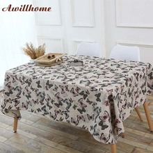 Awillhome White Tablecloths Home Rectangle Tablecloths Europe Butterfly Linen Dining Table Cloths Factory Table Covers Party New(China)