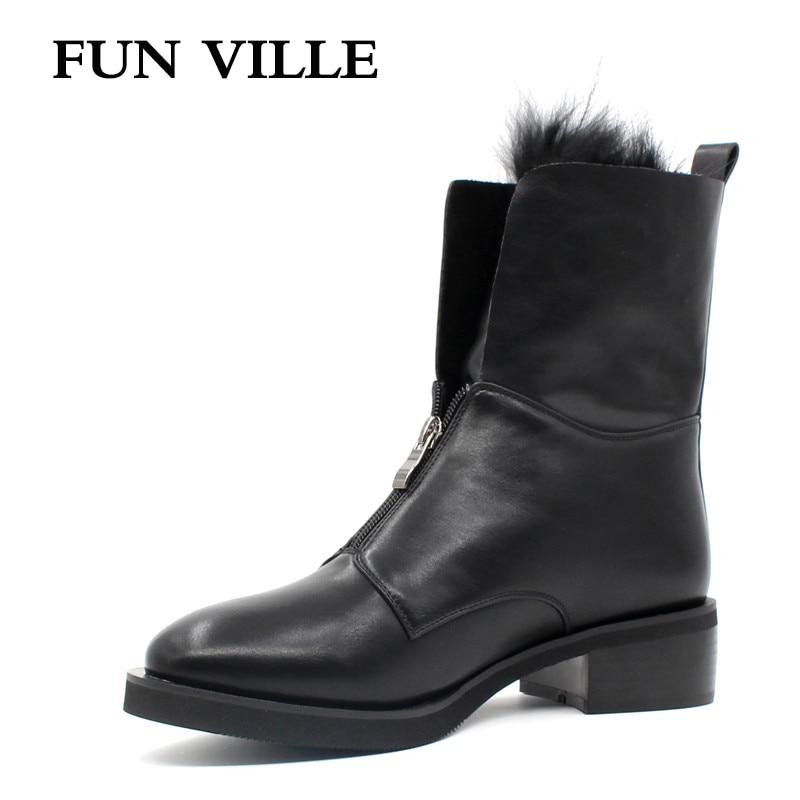 FUN VILLE 2017 Autumn winter Women Ankle Boots Hign quality Flat Martin boots black Round Toe Zipper Size 35-42<br>