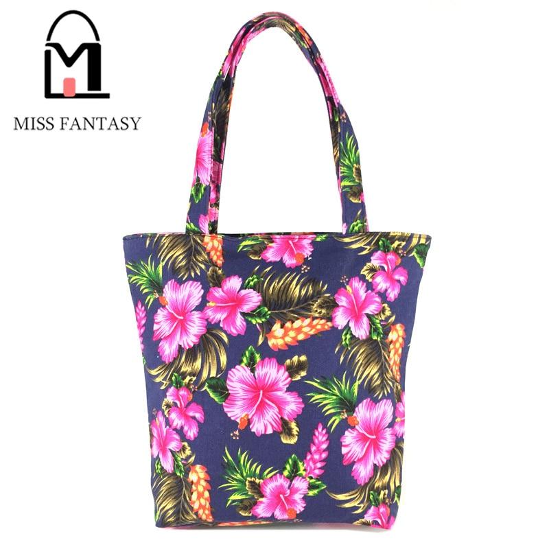 Women Bag Womens Canvas Handbag Summer Beach Bag Tote Shoulder Bags Flower Printing Ladies Casual Shopping Bag Zipper Handbags<br>