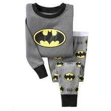Batman Boy pajamas suit Super Hero Long Sleeve Pajama Children pijama Kids Sleepwear clothes at home nightgown 100% Cotton(China)