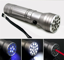 15+1 Multifunction UV Laser Flashlight Q5 LED Torches with 5 UV LED + 1 Red Laser Light for Anti-counterfeiting Industry