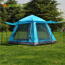Actionclub 3 To 4 Pop Up Automatic Tent Windproof Waterproof Breathable Tent Pure Color Folding UV Protective Fishing Shelter