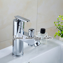 hot and cold water zinc alloy two water outlet bathroom mixer faucet(China)
