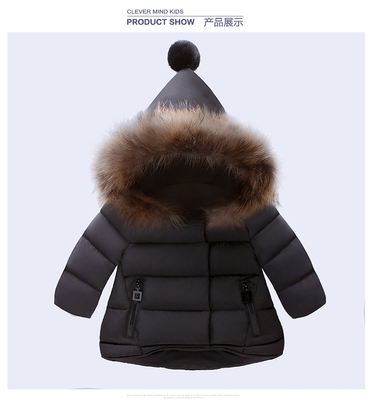 Winter Girls Parka Spandex Real Fur Thickening Hoods Natural Jacket WarmReal hair collar New Brand Child Clothes
