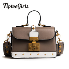 New Retro Handbags Simple Shoulder Messenger Bag Europe and the United States Hit Color Rivets Portable Small Square Package(China)