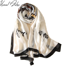 Pure Silk Scarf Women Luxury Brand Soft White Foulards Shawls Plus Size Hijab Scarves 2017 180cm*90cm SFN083(China)