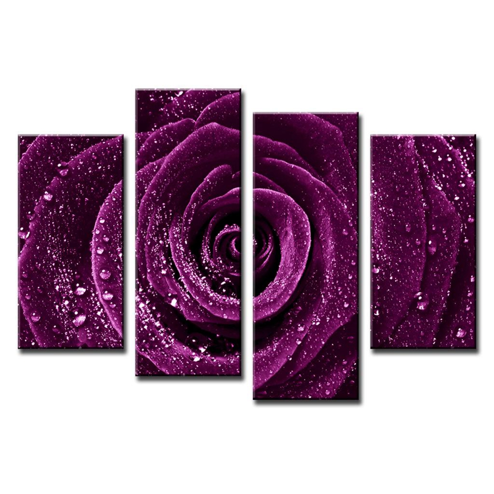 4-Pcs-Set-Flower-Purple-Rose-Raindrops-Canvas-Prints-Painting-Classical-Purple-Flower-Wall-Picture-for (2)