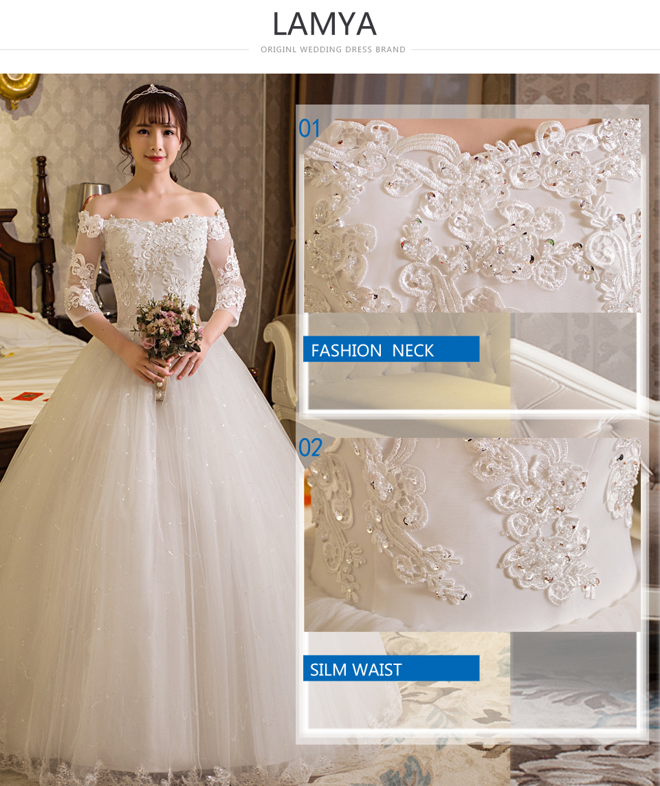 LAMYA Customized Ball Gown Lace Three Quarter Boat Neck Wedding ... e64c3b6ebd5f