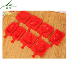 2017 DIY 8PCS/set Bear,Heart,face,Torch,Cat,Foot,Ellipse,Striped Blocks Shape Plastic Jelly Pudding Ice Cream Tubs Popsicle Mold