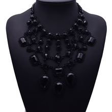 2017 New Design XG264 Vintage Necklaces & Pendants Black Branch Crystal Statement Necklace Multi-layers Crystal Jewelry(China)