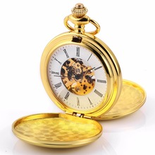 Golden Smooth Double Case Roman Steampunk Movement Mechanical Pocket Watch Hunter Jewelry Chain Hand Winding Nurse Clock /WPK226