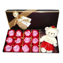1 box Rose Flower Soap Gift box for Bath - Perfect Valentine's day Gift with a bear For Mother, Wife or Girlfriend(Red)(China)