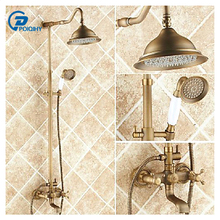 POIQIHY Centerset  8 inch Rainshower Antique Brass Retro Copper Bath Shower Faucet Rotatable Ceramic Style Lift Sliding bar