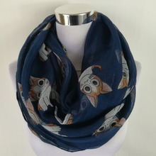 New Brand Scarf cute cat Print Scarfs For Women sping Autumn Shawl animal Scarves ladies infinity scarf(China)