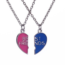 New Arrival Best Friends Letters Necklaces Silver Heart Two Parts Blue and Red Oil Paintings Pendant Necklace Gift For Friend