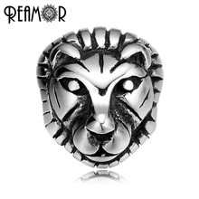 REAMOR 2mm 316L Stainless steel Animal Lion head Beads Charms The king of Beasts Spacer Beads for Bracelet Jewelry Making