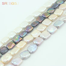 Free Shipping Natural 12-14mm Keshi Square Baroque Freshwater Pearl Jewelry Beads Strand 15""