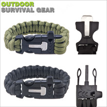 Outdoor Camping Survival Kit, Multifunctional Bracelet Safety Rope Paracord Buckles+Whistle Flint Fire Magnesium