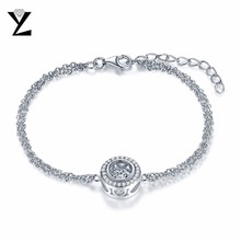 YL Dancing Round 925 Sterling Silver Friendship Bracelets for Women Best Friends Wholesale Fashion Jewelry for Wedding Party(China)