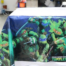 180cm Ninja Turtle Plastic Cartoon Table Cover Cloth for kids happy birthday party plastic table cloth supplies disposable map