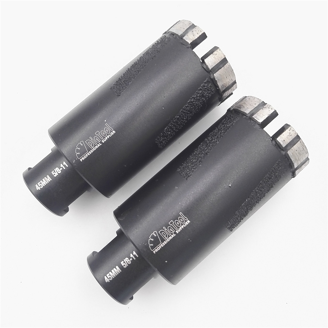 DIATOOL 2pcs Laser Welded Diameter 45mm Diamond Dry Drilling Core Bits With Side Protection 5/8-11 Thread<br>