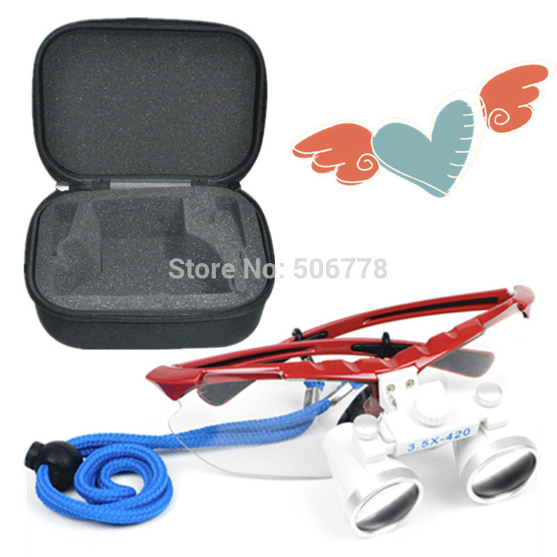 Dentist Dental Surgical Medical Binocular Loupes magnification 2.5x 420mm Optical Glass Loupe +Black case Dental loupes<br>