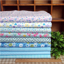 Free ship 9designs 20*30cm blue small cotton fabric fat quarter bundle set tilda sewing cloth home textile patchwork quilting(China)