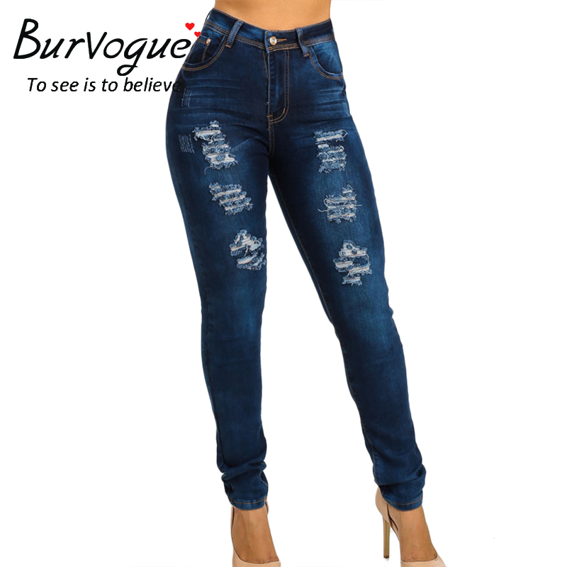 Burvogue Fashion Women Butt Lifting Jeans Skinny Stretch Blue Leggings Ripped Full Length Pencil Pants New Arrival JeansОдежда и ак�е��уары<br><br><br>Aliexpress