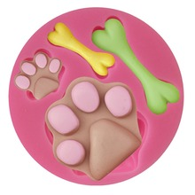 Dog Foot Paw Bone Cake Silicone Baking Molds Fondant Cake Decorating Tools Gumpaste Chocolate Candy Clay Moulds CD053