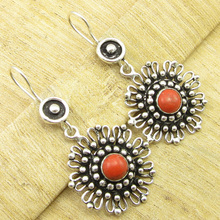 OXIDIZED Earrings 5 cm !  Silver Plated Original ORANGE COPPER Turquois Gift
