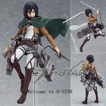 "EMS Shipping 12pcs 6"" Attack on Titan Shingeki no Kyojin Mikasa Ackerman Boxed PVC Action Figure Model Collection Toy Figma 203(China)"