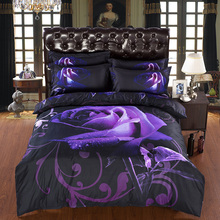 New Arrival 3d Bedding Sets Purple Rose Printed Queen Size 4pcs Print Bed Set Bedclothes Bed Linen Bed Sheet Duvet Cover Set