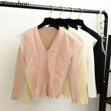 136f457243be4 2019 New Auttum V-Neck Mesh Patchwork Sweater Women Slim Korean Cardigans  Long Sleeves Single. 3 Colors Available