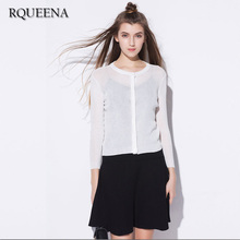 2017 Spring Summer Woman Solid Knitting Cardigan Thin Ice Silk Round Neck Nine Quarter Sleeve Air Conditioner Shirts Coat