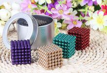 5mm 125pcs/set cube Magnetic Balls toys Puzzle Magnet Block Cubo Magico Toys with Tin metal Box(China)