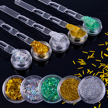Holographic Nail Glitter Powder and Sequins Gold Silver AB Nail Art DIY UV Shiny Glitter Dust Pigment Decorations Tools
