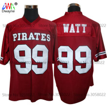 2017 Cheap American Football Jerseys Red JJ J.J. Watt 99 Pewaukee Pirates High School Throwback jerseys Retro Stitched Shirts