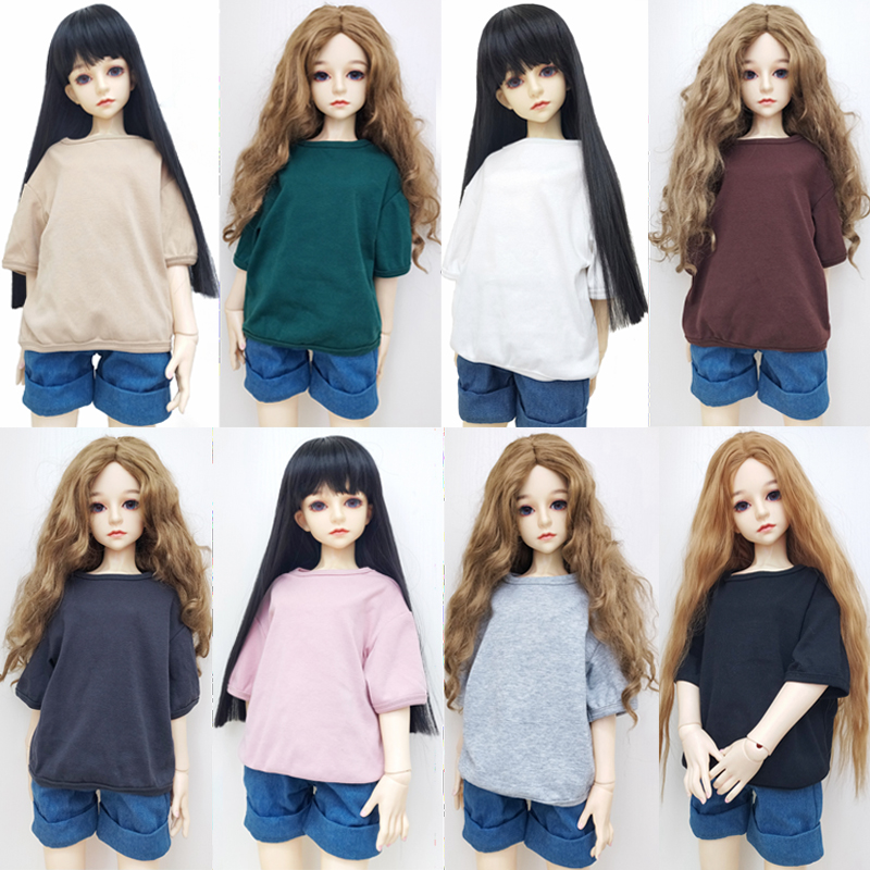 Summer new simple simple doll neutral solid color clothes loose casual cotton half short sleeve unisex T-shirt doll accessories