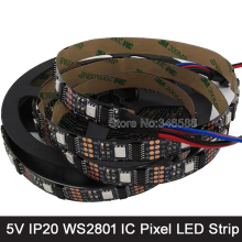 5M 5V WS2801 Addressable Pixel LED Strip 32LED/M 5050 SMD IP20 Black PCB, Raspberry PI Control, Arduino Development Ambilight TV
