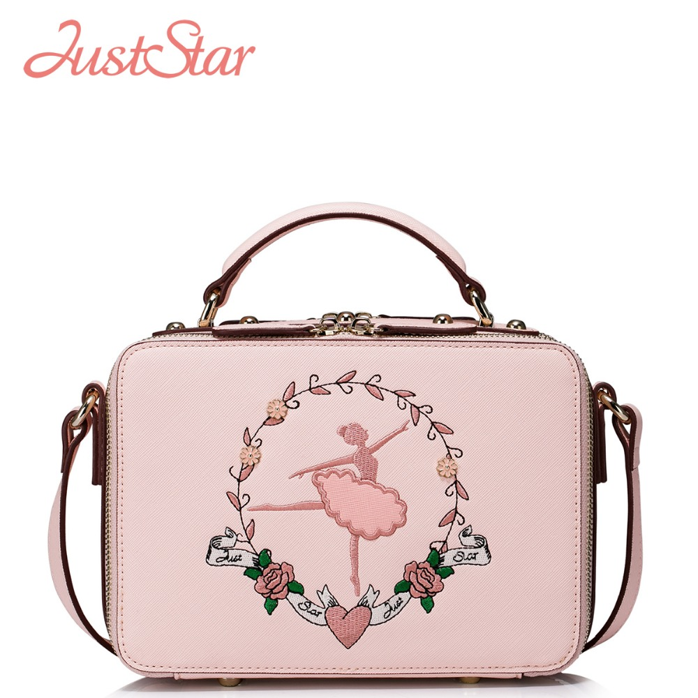 JUST STAR Womens PU Leather Handbags Ladies Fashion Ballet Dancer Embroidery Flap Tote Shoulder Purse Girl Messenger Bags J1013<br>