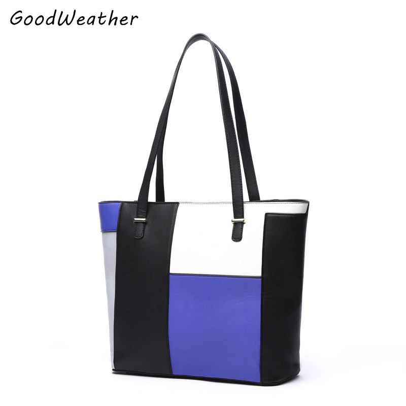 2017High Quality PU Leather Women Leather Tote Bag Designer Stitching Color Handbag Fashion Zipper Ladies  Style Top-Handle Tote<br><br>Aliexpress