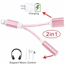 Buy 2 1 Adapter Lighting Phone 3.5mm Earphone Headphone Jack Charger Converter Aux Audio Port iPhone 7 7plus iOS 10.3 for $8.30 in AliExpress store