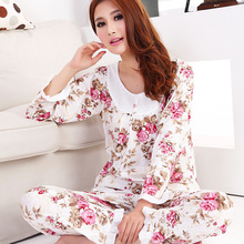 2015 New women long-sleeve cotton sleep pajama sets female nightwear lady floral Pyjamas nightgowns teenage pijamas sleepwear(China)